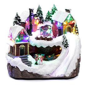 Villaggio natalizio luminoso musicale movimento trenino lago ghiacciato 23X21X16 cm s1
