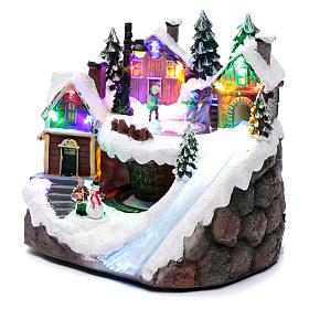 Villaggio natalizio luminoso musicale movimento trenino lago ghiacciato 23X21X16 cm s2