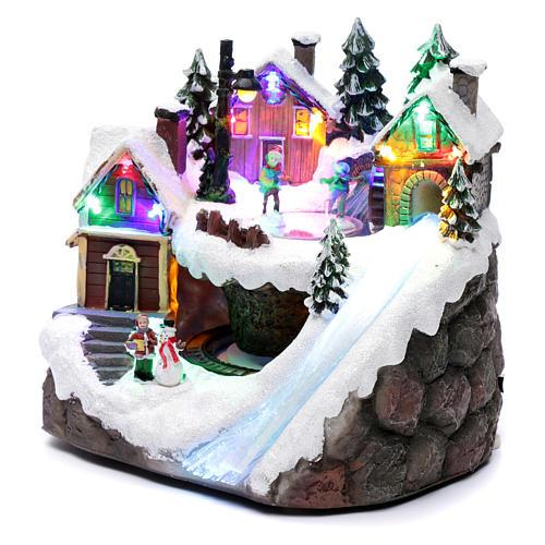 Villaggio natalizio luminoso musicale movimento trenino lago ghiacciato 23X21X16 cm 2