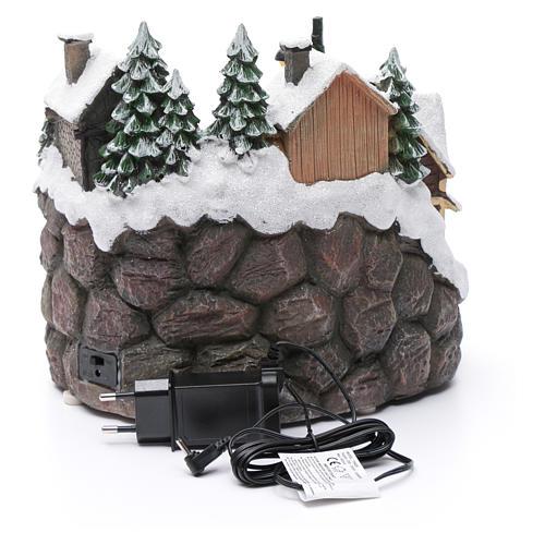 Villaggio natalizio luminoso musicale movimento trenino lago ghiacciato 23X21X16 cm 5