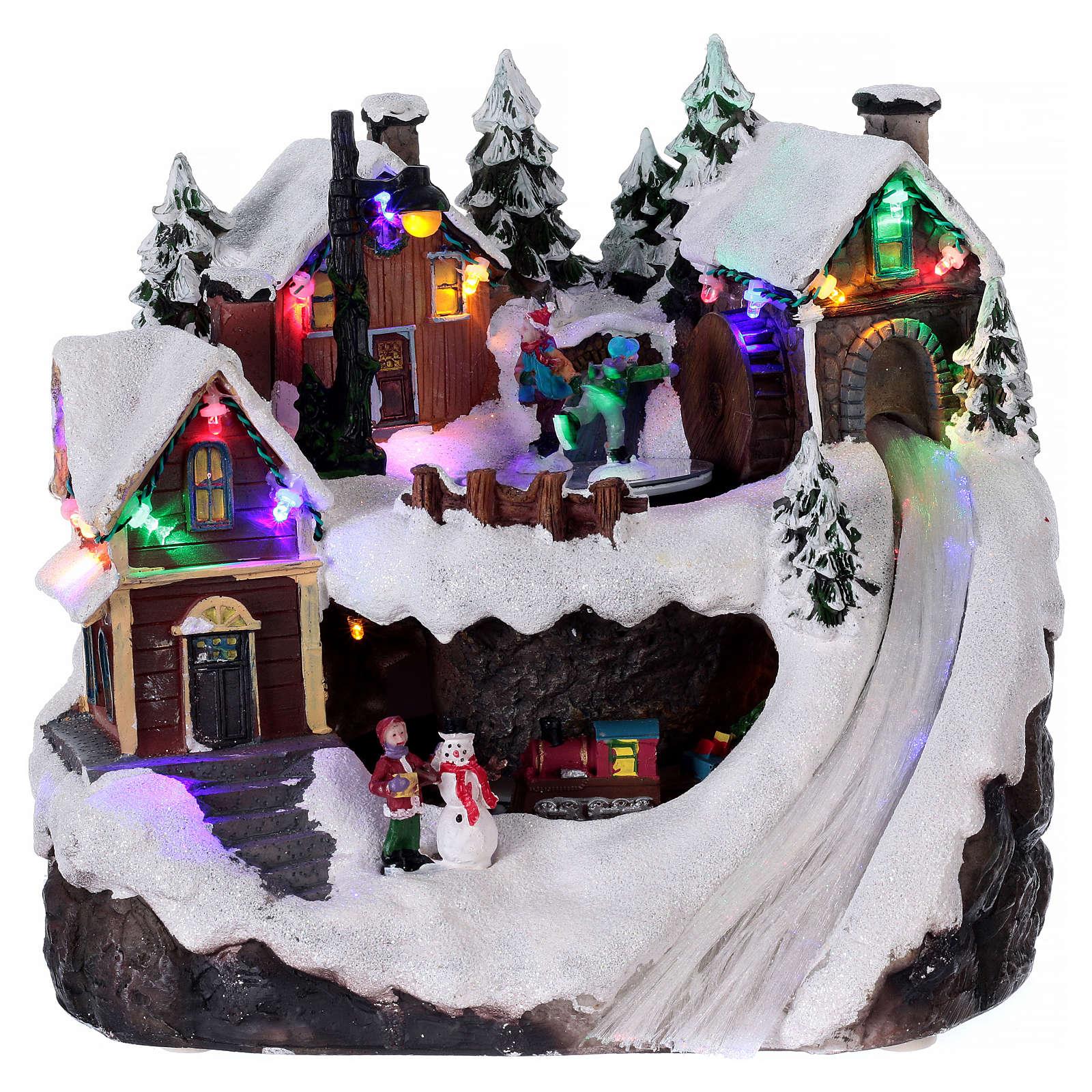 Bożonarodzeniowe miasteczko z oświetleniem melodią ruchomym pociągiem jeziorem zlodowaciałym 23x21x16 cm 3