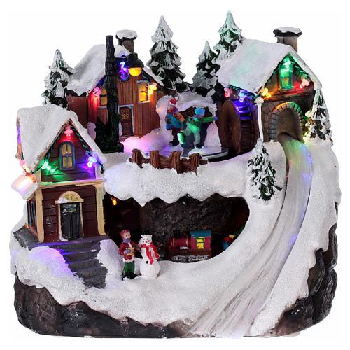 Bożonarodzeniowe miasteczko z oświetleniem melodią ruchomym pociągiem jeziorem zlodowaciałym 23x21x16 cm 1