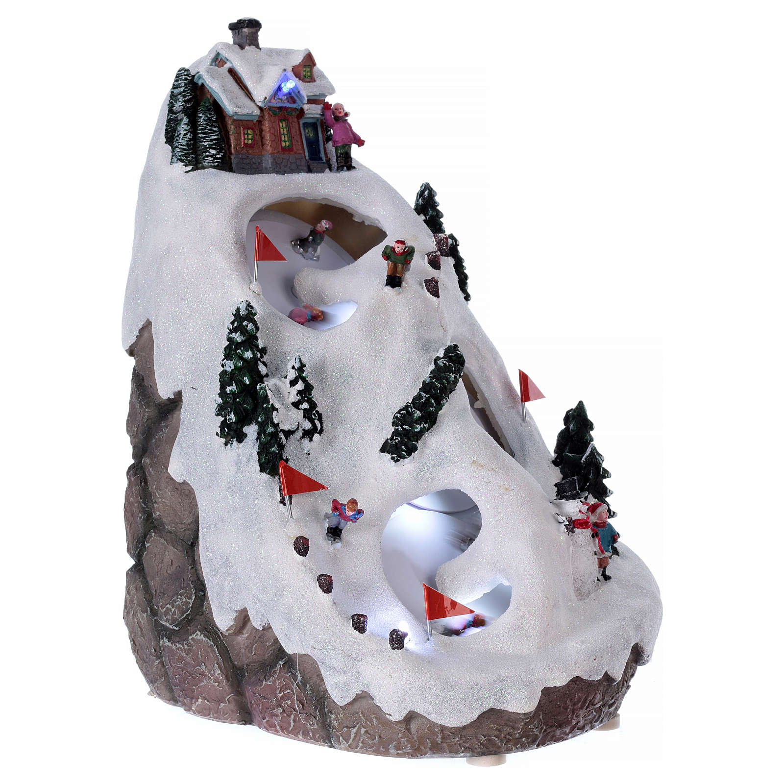 Aldea navideña iluminada musical movimiento esquiadores 3
