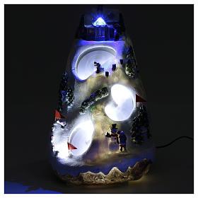 Aldea navideña iluminada musical movimiento esquiadores s4