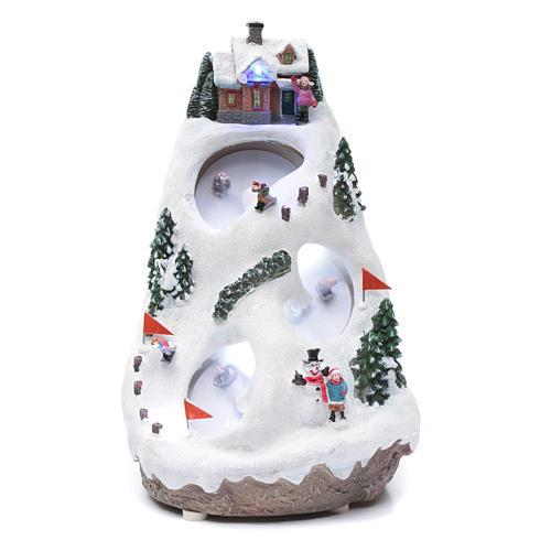 Aldea navideña iluminada musical movimiento esquiadores 1