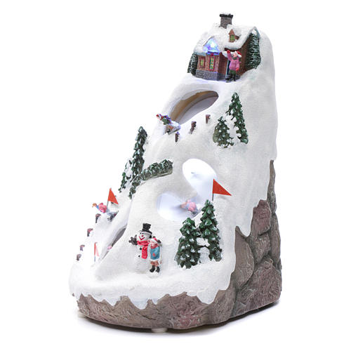 Aldea navideña iluminada musical movimiento esquiadores 2