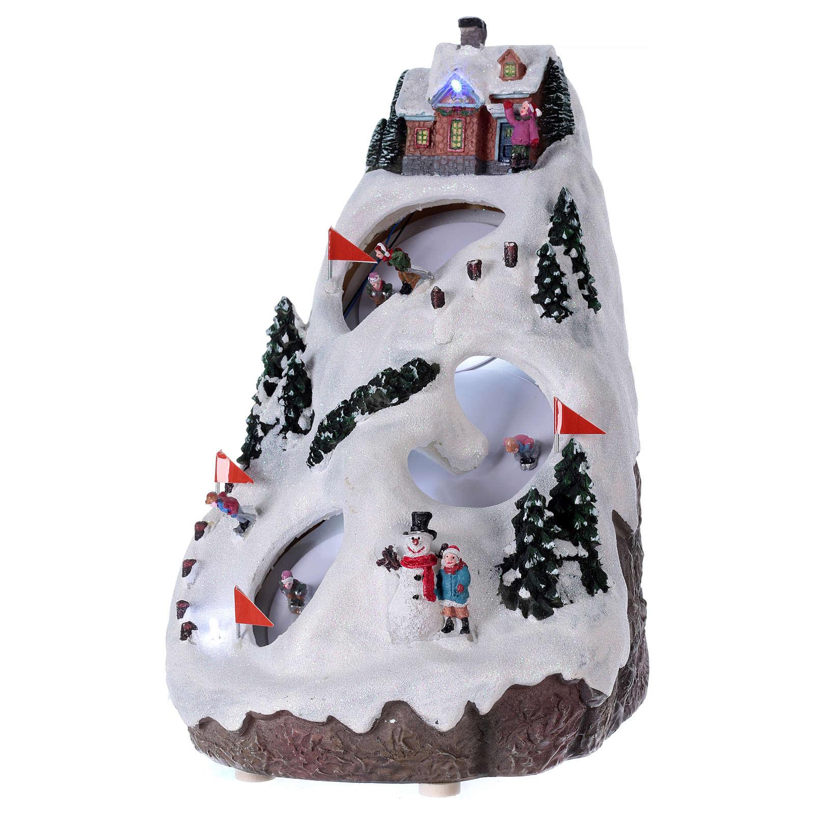 Villaggio natalizio luminoso musicale movimento sciatori 28X19X23 cm 3