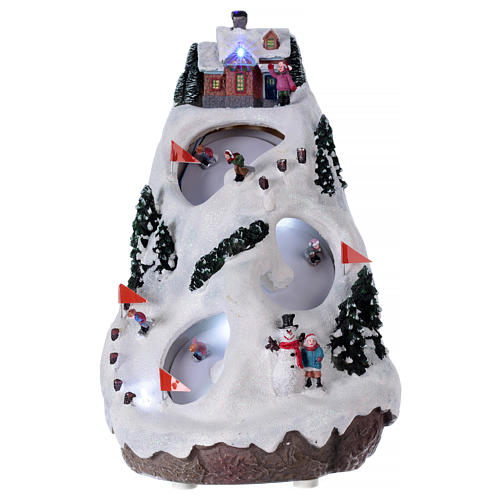 Villaggio natalizio luminoso musicale movimento sciatori 28X19X23 cm 1