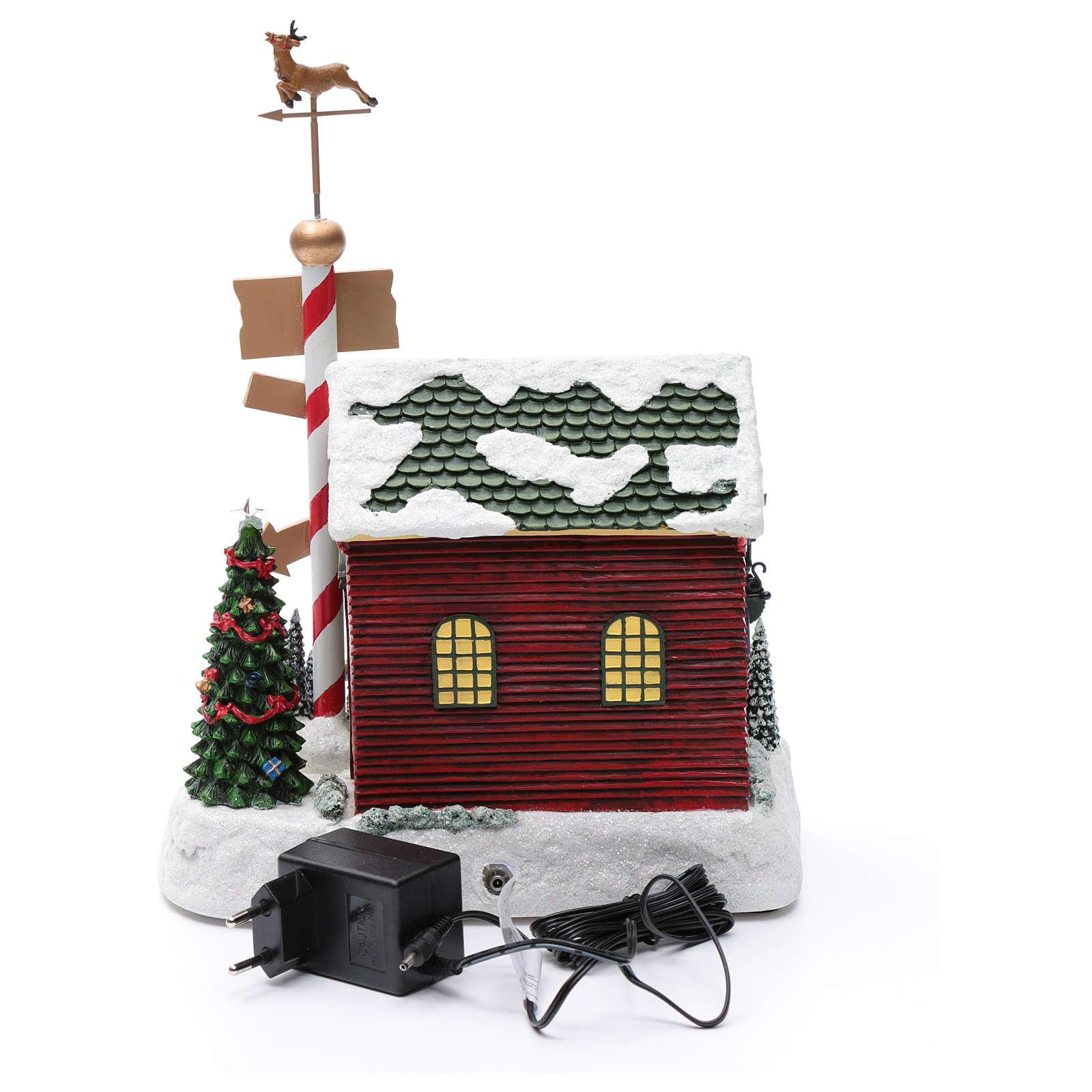 Cena de Natal casa Pai Natal luminosa musical movimento anões 30x25x17 cm 3