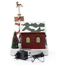 Cena de Natal casa Pai Natal luminosa musical movimento anões 30x25x17 cm s5