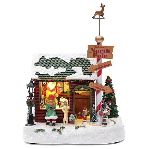 Cena de Natal casa Pai Natal luminosa musical movimento anões 30x25x17 cm 1