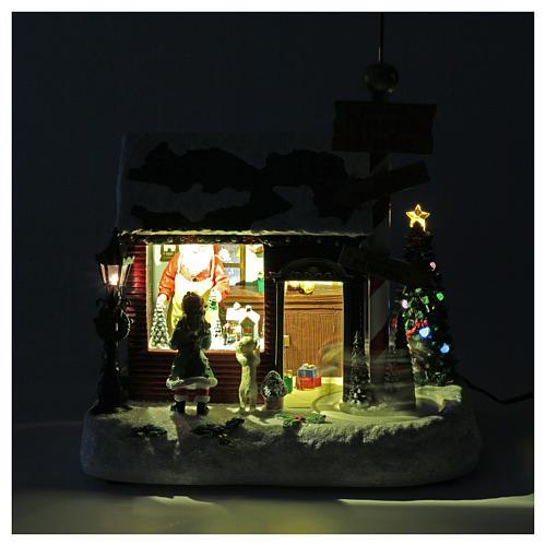 Cena de Natal casa Pai Natal luminosa musical movimento anões 30x25x17 cm 4