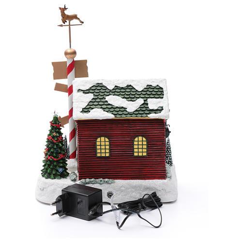 Cena de Natal casa Pai Natal luminosa musical movimento anões 30x25x17 cm 5
