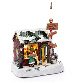 Lighted Christmas village with Santa, rotating elves and music 30x25x17 cm s3