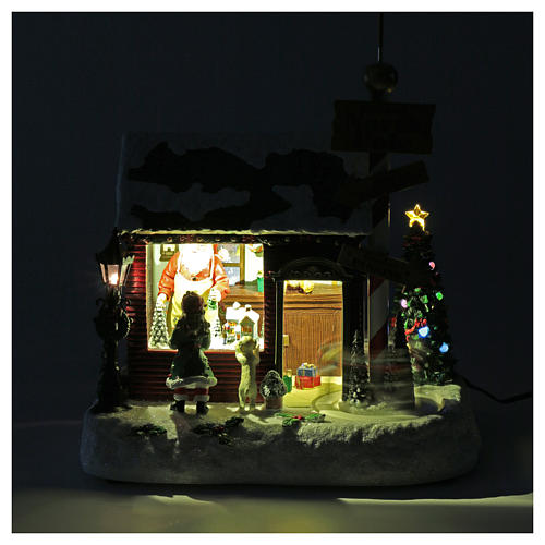 Lighted Christmas village with Santa, rotating elves and music 30x25x17 cm 4
