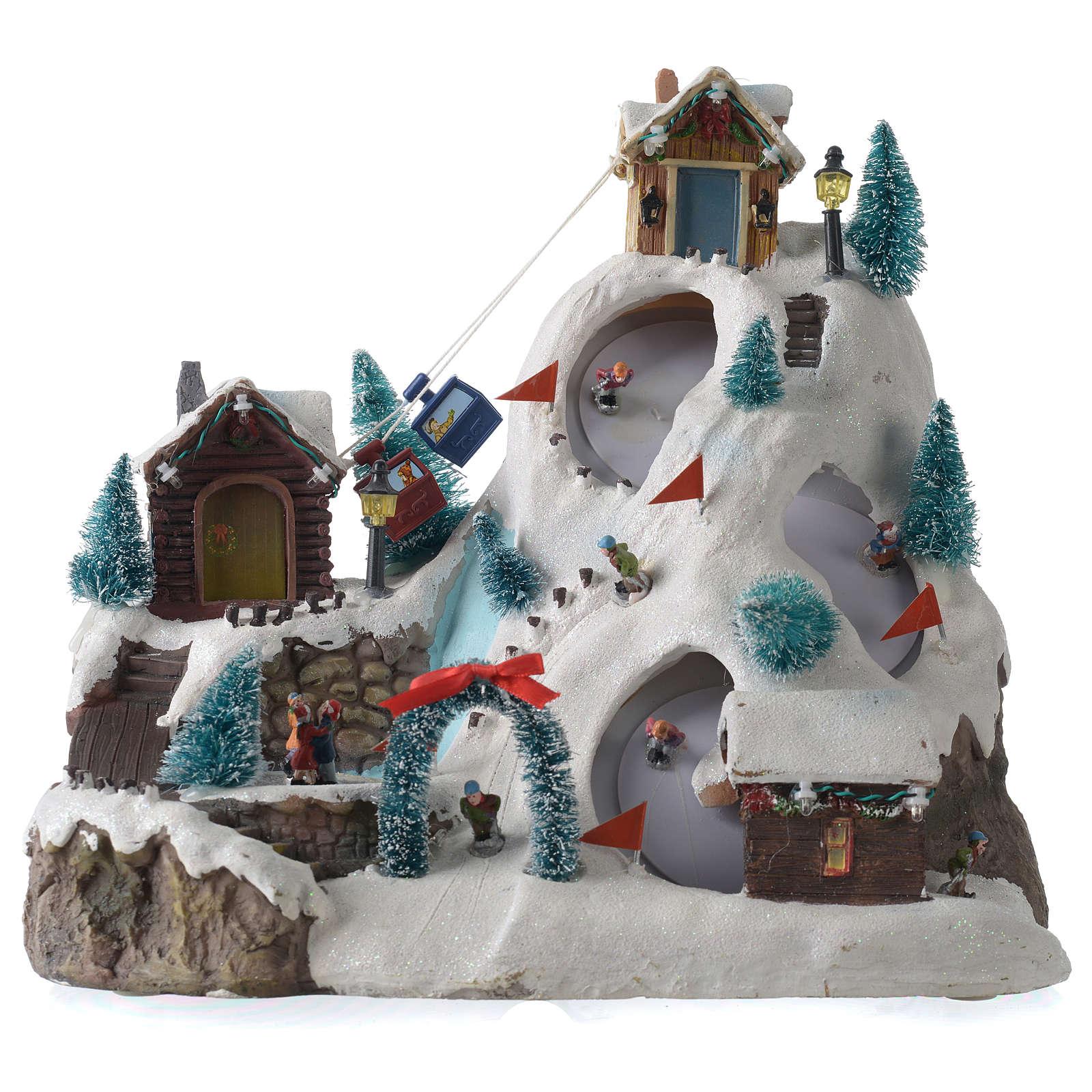 Aldea navideña iluminada musical movimiento pista de esquí lago 29x31x22 cm cm 3
