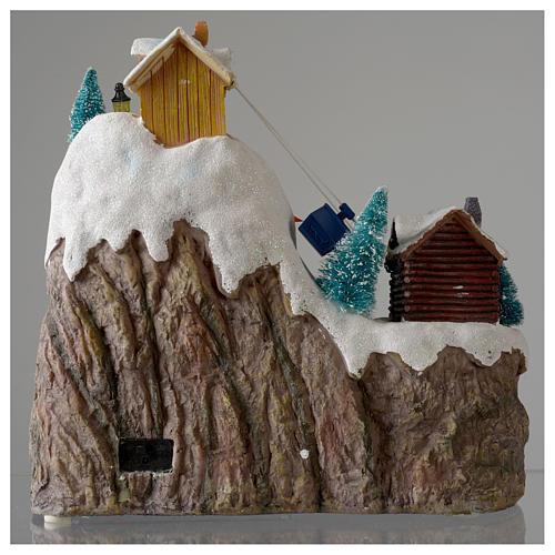 Aldea navideña iluminada musical movimiento pista de esquí lago 29x31x22 cm cm 5