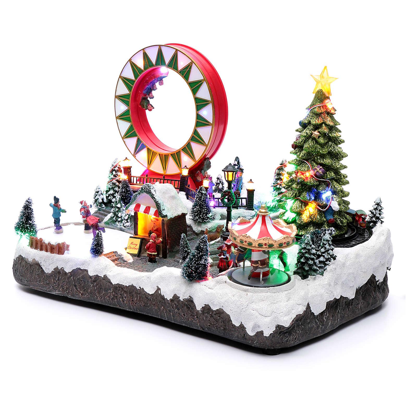 Villaggio natalizio luminoso musicale movim pattinatori giostre albero natale 29X48X26 cm 3