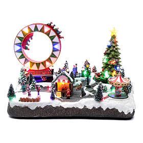 Villaggio natalizio luminoso musicale movim pattinatori giostre albero natale 29X48X26 cm s1