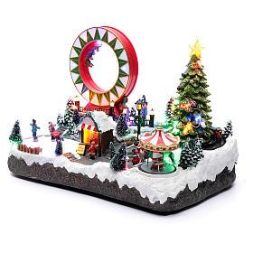 Villaggio natalizio luminoso musicale movim pattinatori giostre albero natale 29X48X26 cm s2