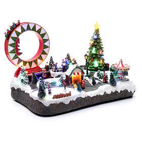 Villaggio natalizio luminoso musicale movim pattinatori giostre albero natale 29X48X26 cm s3