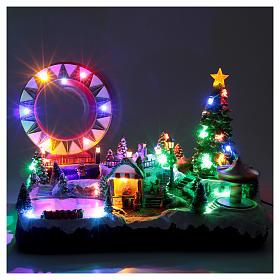 Villaggio natalizio luminoso musicale movim pattinatori giostre albero natale 29X48X26 cm s4