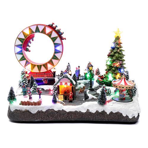 Villaggio natalizio luminoso musicale movim pattinatori giostre albero natale 29X48X26 cm 1