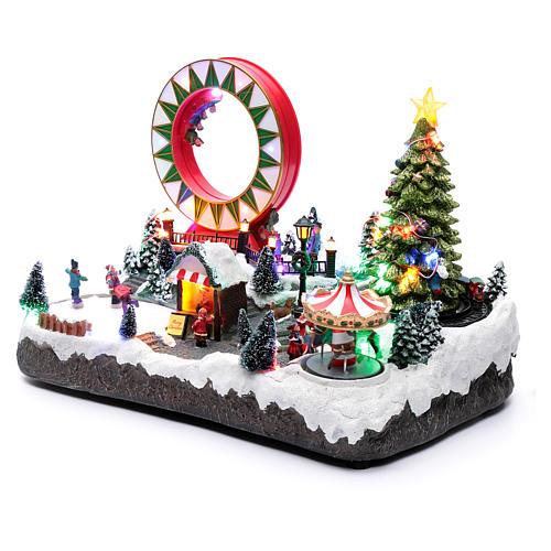 Villaggio natalizio luminoso musicale movim pattinatori giostre albero natale 29X48X26 cm 2