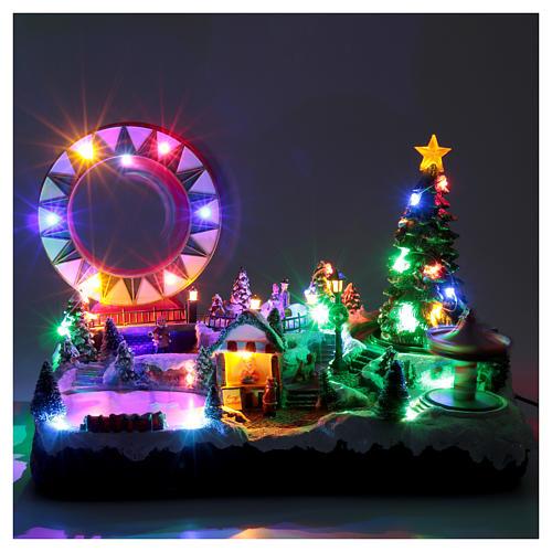 Villaggio natalizio luminoso musicale movim pattinatori giostre albero natale 29X48X26 cm 4