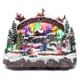 Villaggio natalizio luminoso musicale movimento pattinatori albero natale 24X33X21 cm s1