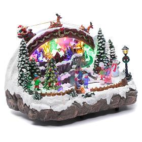 Villaggio natalizio luminoso musicale movimento pattinatori albero natale 24X33X21 cm s3