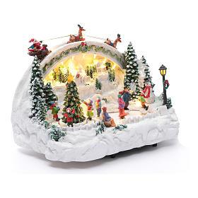 Village Noël blanc lumineux musique mouvement patineurs sapin 24x33x21 cm s3