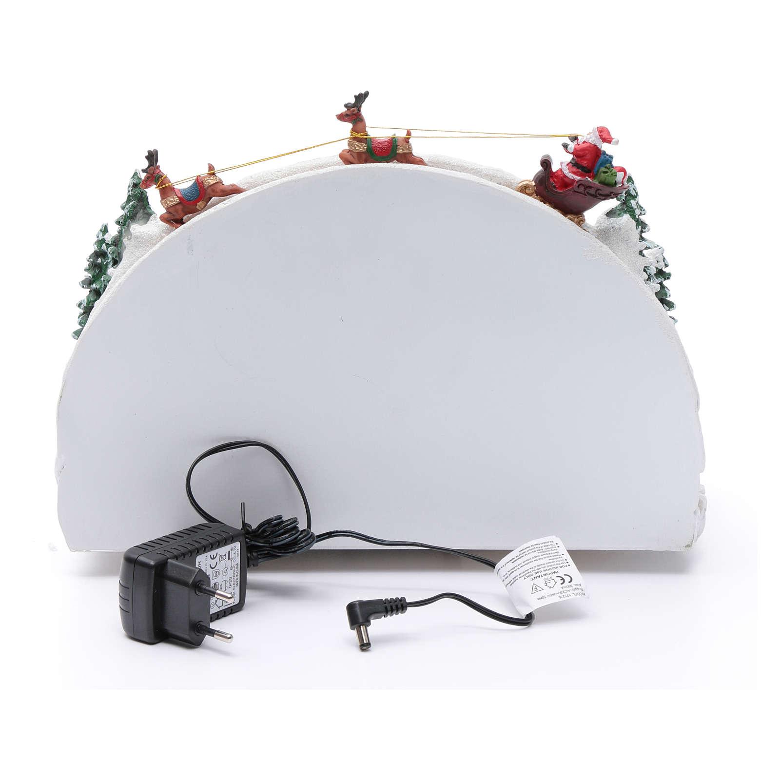 Villaggio natalizio bianco luminoso musica movim pattinatori albero natale 24X33X21 cm 3