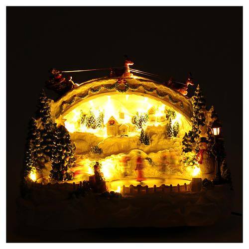 Villaggio natalizio bianco luminoso musica movim pattinatori albero natale 24X33X21 cm 4