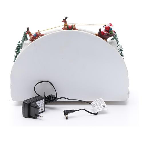 Villaggio natalizio bianco luminoso musica movim pattinatori albero natale 24X33X21 cm 5