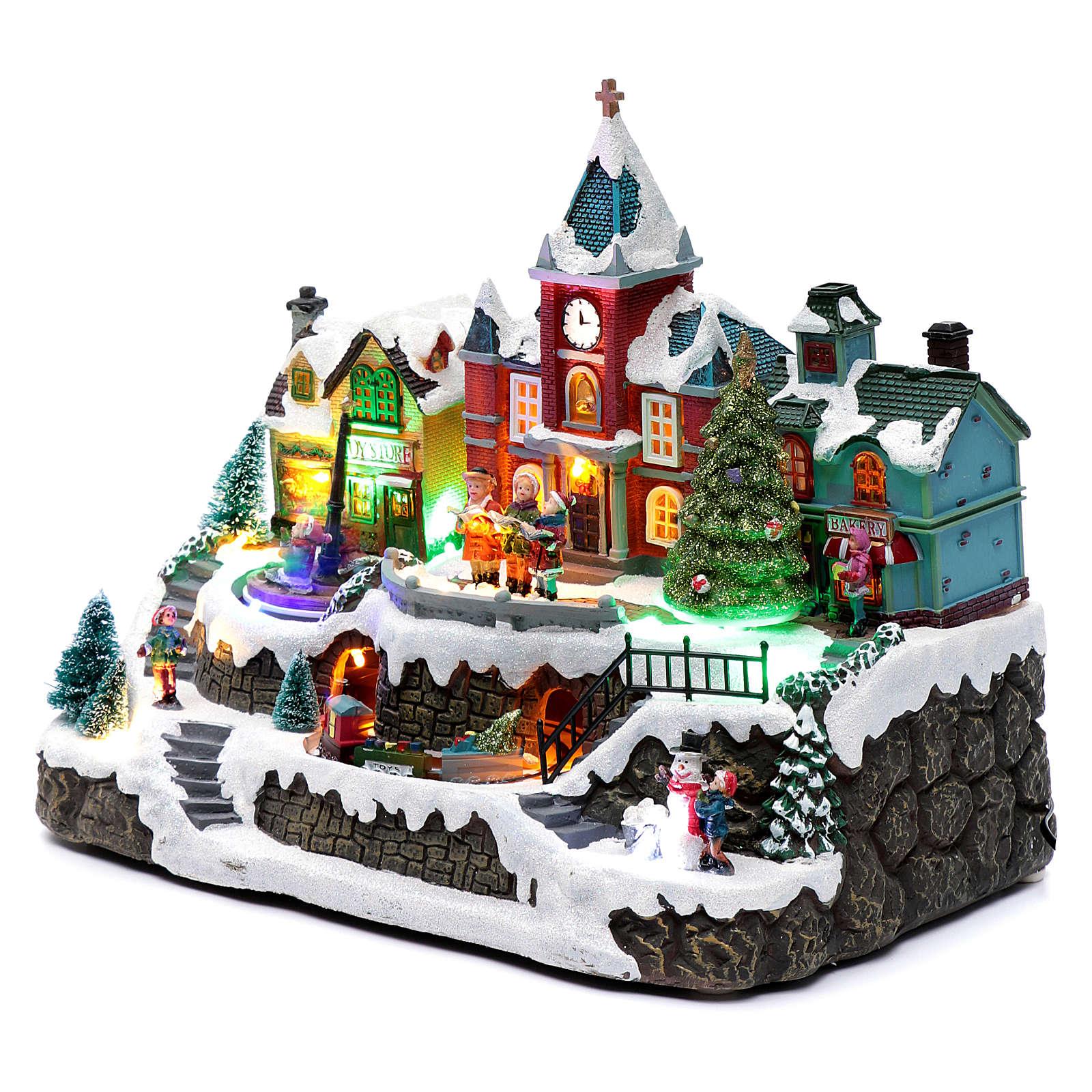 Weihnachtsdorf, mit Beleuchtung, Musik, beweglichen Zug und Brunnen, 28x34x19 cm 3