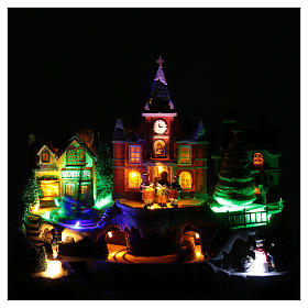 Cenário natalino em miniatura iluminado movimento trem, árvore de Natal, crianças 28x34x19 cm s4
