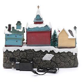 Cenário natalino em miniatura iluminado movimento trem, árvore de Natal, crianças 28x34x19 cm s5