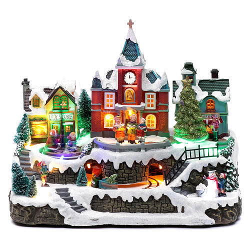 Cenário natalino em miniatura iluminado movimento trem, árvore de Natal, crianças 28x34x19 cm 1