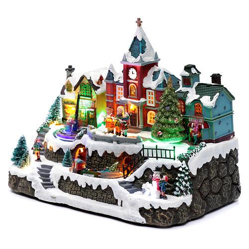 Cenário natalino em miniatura iluminado movimento trem, árvore de Natal, crianças 28x34x19 cm 2