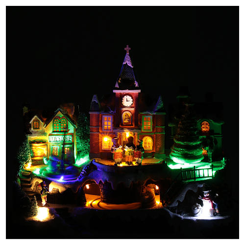 Cenário natalino em miniatura iluminado movimento trem, árvore de Natal, crianças 28x34x19 cm 4