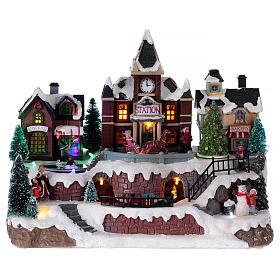 Villages de Noël miniatures: Village Noël lumineux musical mouvement train lac glacé sapin Noël 28x34x19 cm