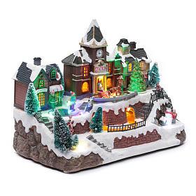 Villaggio natalizio luminoso musica movim trenino lago ghiacciato albero natale 28X34X19 cm s3