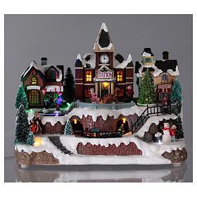 Villaggio natalizio luminoso musica movim trenino lago ghiacciato albero natale 28X34X19 cm s2