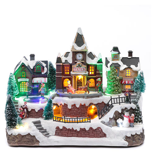 Villaggio natalizio luminoso musica movim trenino lago ghiacciato albero natale 28X34X19 cm 1