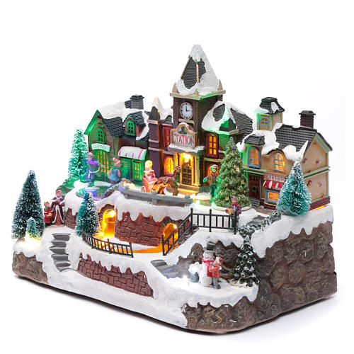 Villaggio natalizio luminoso musica movim trenino lago ghiacciato albero natale 28X34X19 cm 2
