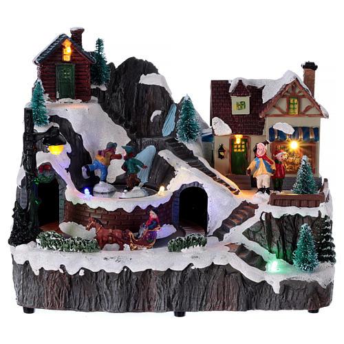 Village Noël lumineux musique mouvement train lac glacé 19x23x16 cm 1