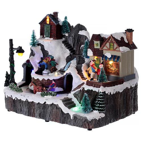 Village Noël lumineux musique mouvement train lac glacé 19x23x16 cm 3