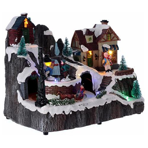 Village Noël lumineux musique mouvement train lac glacé 19x23x16 cm 4