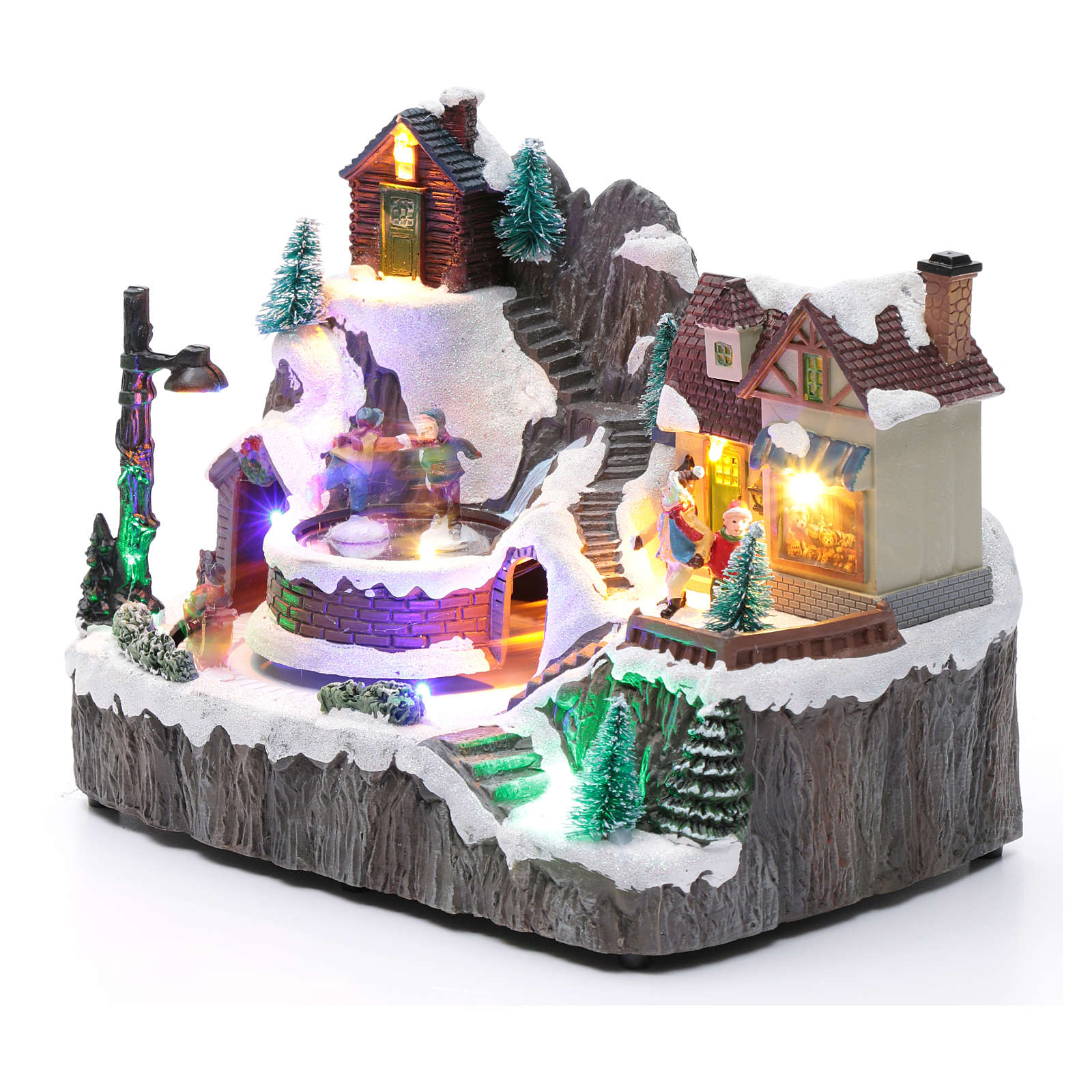 Villaggio natalizio luminoso musica movim trenino lago ghiacciato 19X23X16 cm 3